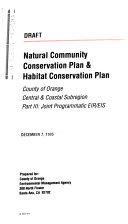 Pdf Natural Community Conservation Plan and Habitat Conservation Plan, Orange County