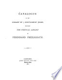Catalogue of the Library of J  Montgomery Sears