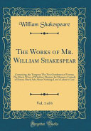 The Works Of Mr William Shakespear Vol 1 Of 6