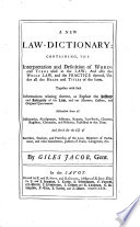 A new Law-Dictionary: containing the interpretation and definition of words and terms used in the law, etc Pdf/ePub eBook