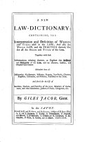 A new Law-Dictionary: containing the interpretation and definition of words and terms used in the law, etc ebook