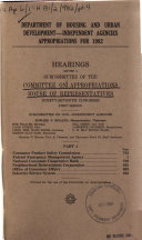Department of Housing and Urban Development  independent Agencies Appropriations for 1982