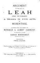 Argument of the Play of Leah  Leah  the Forsaken