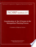 Consideration of the 15 Factors in the Metropolitan Planning Process Book