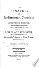 The Senator Or Clarendon S Parliamentary Chronicle