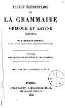 Abrégé élémentaire de la grammaire grecque et latine comparée