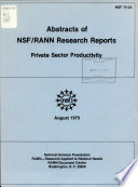 Abstracts of NSF/RANN Research Reports