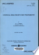 Chemical Analysis by X ray Photometry