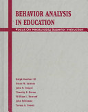 Behavior Analysis in Education