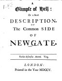 A Glimpse of Hell: Or a Short Description, of the Common Side of Newgate