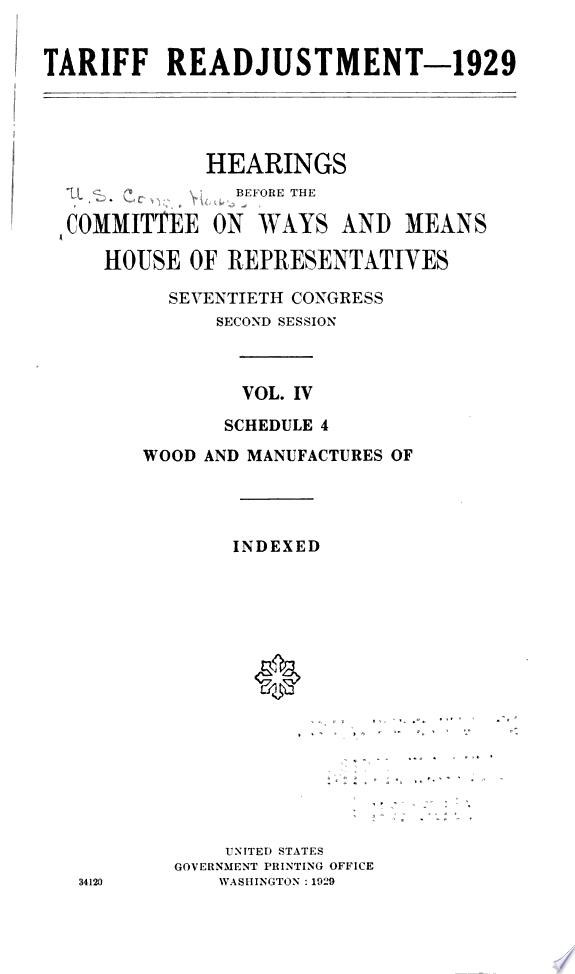 Tariff Readjustment  1929