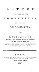 Letter Addressed to the Addressers, on the Late Proclamation