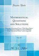 Mathematical Questions And Solutions Vol 63