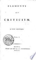 Elements of Criticism Book