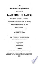 The Mathematical Questions Proposed In The Ladies Diary