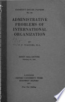 Administrative problems of international organization