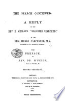 The Search Continued A Reply To The Rev E Mellor S Searcher Searched With Preface By Rev Dr M Neile