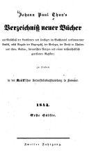 Johann Paul Thun's Verzeichniß neuer Bücher0