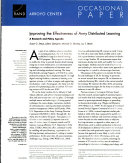 Improving the Effectiveness of Army Distributed Learning