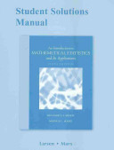 An Introduction to Mathematical Statistics and Its Applications Book
