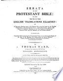 Errata to the Protestant Bible  or the truth of their English translations examined Book PDF