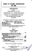 District of Columbia Appropriations for 2000: Operating budget and financial plan, FY 2000