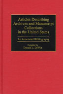 Articles Describing Archives And Manuscript Collections In The United States