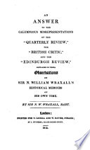 An Answer To The Calumnious Misrepresentations Of The Quarterly Review The British Critic And The Edinburgh Review