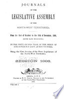 Journals Of The Legislative Assembly Of The North West Territories