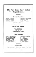 Proceedings of the Conference for the study and reform of county government organized under the auspices of the Committee on county government of the New York Short Ballot Organization ...