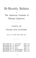 Bulletin of the American Institute of Mining and Metallurgical Engineers