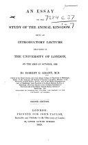 An essay on the study of the Animal Kingdom, etc