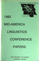 1982 Mid America Linguistics Conference Papers