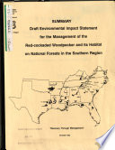 Management of the Red cockaded Woodpecker and Its Habitat on National Forests in the Southern Region Book PDF