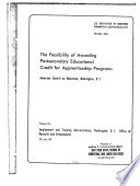 The Feasibility of Awarding Postsecondary Educational Credit for Apprenticeship Programs
