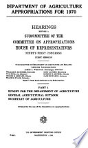 Department Of Agriculture Appropriations For 1970