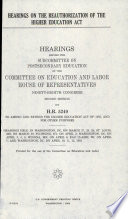 Hearings on the Reauthorization of the Higher Education Act Book