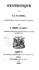 Statistique de la Suisse, seconde édition, revue, corrigée et augmentée