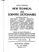 Offer of Imported New Technical and Scientific Dictionaries and Reference Books on Administration, Advertising, Agriculture [etc.]