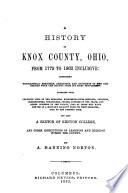 A History of Knox County  Ohio  from 1779 to 1862 Inclusive Book