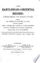 Babylonian & Oriental Record