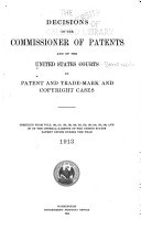 Decisions of the Commissioner of Patents and of the United States Courts in Patent and Trademark and Copyright Cases Book