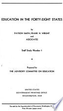 Smith Payson Education In The Forty Eight States 1939 No 2 Cocking W D Organization And Administration Of Public Education 1938 No 3 Frederic Katherine A State Personnel Administration With Special Reference To Departments Of Education 1939 No 4 Heer Clarence Federal Aid And The Tax Problem 1939 No 5 Mort P R Principles And Methods Of Distributing Federal Aid To Education 1939