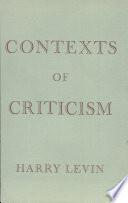 Contexts Of Criticism