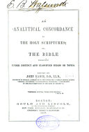 An Analytical Concordance to the Holy Scriptures