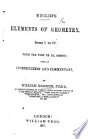 Euclid S Elements Of Geometry Books I To Iv From The Text Of Dr Simson With An Introduction And Commentary By W Rossiter