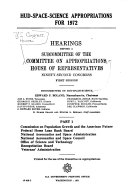 HUD SPACE SCIENCE APPROPRIATIONS FOR 1972 Book