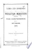 Nottingham  1876  Names and Addresses of Wesleyan Ministers attending the Conference held in Nottingham  1876