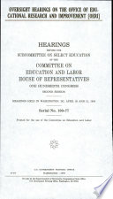 Oversight Hearings on the Office of Educational Research and Improvement  OERI
