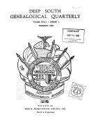 Deep South Genealogical Quarterly Book